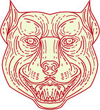 Pitbull Dog Mongrel Head Mono Line