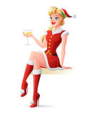 Vector beautiful woman in Santa outfit toasting with champagne.