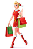Vector pretty woman in Santa outfit shopping and showing OK.
