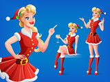 Pretty woman in Santa outfit in various poses. Vector set.