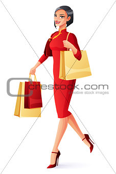 Beautiful Chinese Asian woman walking with shopping bags. Vector illustration.