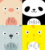 Animal muzzles pig, panda, rabbit, chick