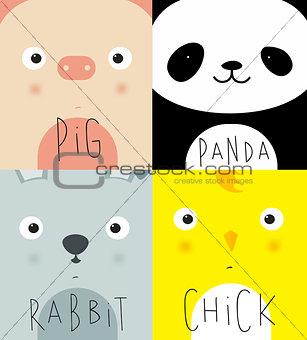 Animal muzzles pig, panda, rabbit, chick