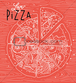 Poster love pizza coral