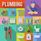 Plumbing Service Flat Icons Set