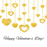 Happy valentines day card with golden glitter heart seamless garland isolated on white background.