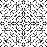 Black and white seamless floral vector pattern.