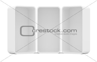 Three blank empty rounded showcase display