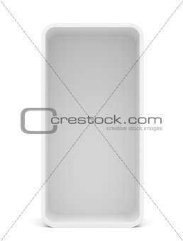 Blank empty rounded showcase display. Front view