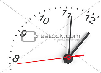 Close-up clock face. Isolated