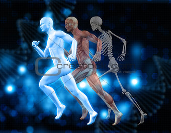 3D medical background with male figure in running pose