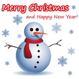 Christmas and New Year postcard with a Snowman