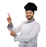 chef man showing or presenting something isolated on white