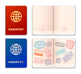 Blue and red realistic passport icons with stamp imprints isolated on white