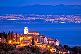 Moscenice skyline and Kvarner bay evening view