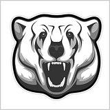 polar bear head - black and white vector illustration