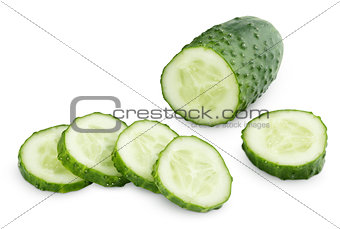 Sliced cucumber isolated on white