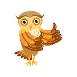 Owl Showing Thumbs Up Cute Cartoon Character Emoji With Forest Bird Showing Human Emotions And Behavior