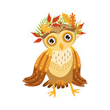 Owl Wearing Leaf Wreath Cute Cartoon Character Emoji With Forest Bird Showing Human Emotions And Behavior