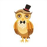 Gentleman Owl In Top Hat Cute Cartoon Character Emoji With Forest Bird Showing Human Emotions And Behavior