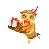 Owl And Birthday Present Cute Cartoon Character Emoji With Forest Bird Showing Human Emotions And Behavior