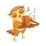 Owl Playing Violin Cute Cartoon Character Emoji With Forest Bird Showing Human Emotions And Behavior