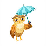 Owl With Umbrella Cute Cartoon Character Emoji With Forest Bird Showing Human Emotions And Behavior