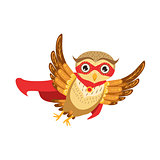 Owl Superhero Cute Cartoon Character Emoji With Forest Bird Showing Human Emotions And Behavior