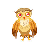 Owl In Love Cute Cartoon Character Emoji With Forest Bird Showing Human Emotions And Behavior