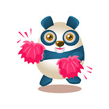 Cute Panda Activity Illustration With Humanized Cartoon Bear Character Cheerleading With Pink Pompoms