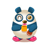 Cute Panda Activity Illustration With Humanized Cartoon Bear Character Drinking Tea And Eating Cookie In Slippers