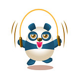 Cute Panda Activity Illustration With Humanized Cartoon Bear Character Jumping On Skipping Rope