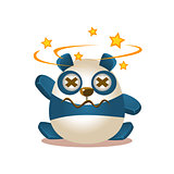 Cute Panda Activity Illustration With Humanized Cartoon Bear Character Seeing Stars Before Eyes