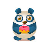 Cute Panda Activity Illustration With Humanized Cartoon Bear Character Holding A Cake