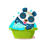 Cute Panda Activity Illustration With Humanized Cartoon Bear Character Having Foam Bath