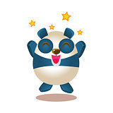 Cute Panda Activity Illustration With Humanized Cartoon Bear Character Jumping Excited And Ecstatic