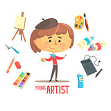Boy Artist Painter, Kids Future Dream Professional Occupation Illustration With Related To Profession Objects