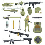 Professional Army Infantry Forces Weapons, Transportation And Soldier Equipment Set Of Realistic Objects In Khaki Color
