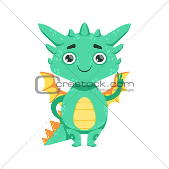Little Anime Style Baby Dragon Smiling And Showing Peace Gesture Cartoon Character Emoji Illustration