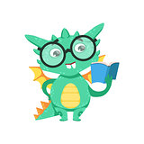 Little Anime Style Smart Bookworm Baby Dragon Reading A Book Cartoon Character Emoji Illustration