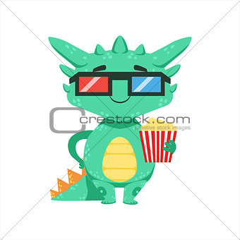 Little Anime Style Baby Dragon In Movie Theatre In 3D Glasses Cartoon Character Emoji Illustration