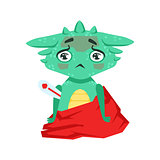 Little Anime Style Baby Dragon With Fever Feeling Sick Cartoon Character Emoji Illustration