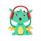 Little Anime Style Baby Dragon Listening To Music With Headphones Cartoon Character Emoji Illustration