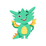 Little Anime Style Baby Dragon Winking And Showing Peace Gesture Cartoon Character Emoji Illustration