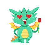 Little Anime Style Baby Dragon In Love Holding Single Red Rose Cartoon Character Emoji Illustration