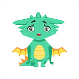 Little Anime Style Baby Dragon Upset And Disappointed Cartoon Character Emoji Illustration