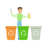 Man Throwing Banana Skin In One Of Three Recycling Waste Bins , Contributing Into Environment Preservation By Using Eco-Friendly Ways Illustration