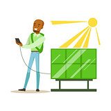 Man Charging His Smartphone From Solar Panel Battery , Contributing Into Environment Preservation By Using Eco-Friendly Ways Illustration