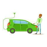 Man Demonstrating Green Electric Car , Contributing Into Environment Preservation By Using Eco-Friendly Ways Illustration