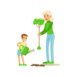 Woman Teaching Kid To Plant The Tree , Contributing Into Environment Preservation By Using Eco-Friendly Ways Illustration